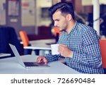 businessman relaxing with legs... | Shutterstock . vector #726690484
