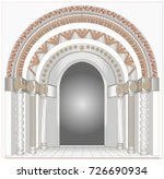 the portal of the temple with... | Shutterstock .eps vector #726690934