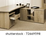 Wooden Desk With An Open Drawer ...
