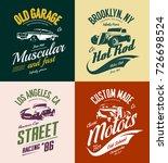 vintage roadster  custom hot... | Shutterstock .eps vector #726698524