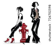 two fashion women in sketch... | Shutterstock .eps vector #726702598