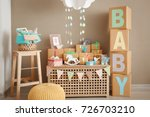 Stock photo gifts and decorations for baby shower indoors 726703210