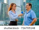 young girl tv reporter... | Shutterstock . vector #726705148