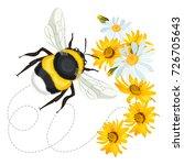 bumblebee closeup head  trace... | Shutterstock .eps vector #726705643