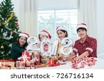 young asian group man and women ... | Shutterstock . vector #726716134