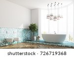 corner of a white and green... | Shutterstock . vector #726719368