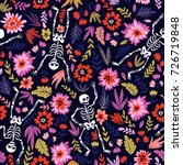 Stock vector dancing skeletons in the floral garden vector holiday illustration for day of the dead or 726719848