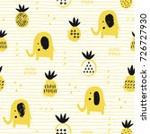 elephant seamless pattern with... | Shutterstock .eps vector #726727930
