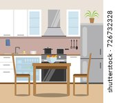 kitchen with furniture set.... | Shutterstock .eps vector #726732328