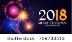 happy new 2018 year  lights... | Shutterstock .eps vector #726733513