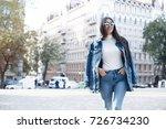 hipster girl wearing blank gray ... | Shutterstock . vector #726734230