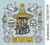 dia de los muertos   day of the ... | Shutterstock .eps vector #726734779