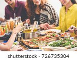 vegan party  young friends... | Shutterstock . vector #726735304