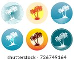 tropical landscape with palms... | Shutterstock . vector #726749164