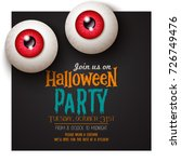 happy halloween invitation card | Shutterstock .eps vector #726749476