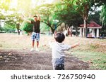 father and son exercising... | Shutterstock . vector #726750940