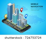 isometric smart city or mobile... | Shutterstock .eps vector #726753724