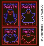 set of neon happy halloween... | Shutterstock .eps vector #726763600
