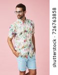 dude in spectacles and floral... | Shutterstock . vector #726763858