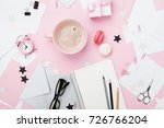 fashion pink woman workplace... | Shutterstock . vector #726766204