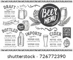 beer drink menu for restaurant... | Shutterstock .eps vector #726772390