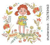 cute girl with vintage frame of ... | Shutterstock .eps vector #726783463