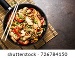 chicken stir fry with  ... | Shutterstock . vector #726784150