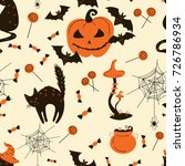 collection of halloween decor... | Shutterstock .eps vector #726786934