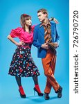 young couple wearing colorful... | Shutterstock . vector #726790720