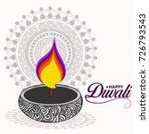 happy diwali diya oil lamp... | Shutterstock .eps vector #726793543