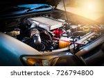 car crash open hood car... | Shutterstock . vector #726794800