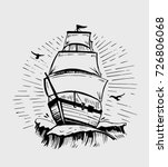 vintage ship on waves. hand... | Shutterstock .eps vector #726806068