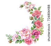 watercolor roses garland | Shutterstock . vector #726806488
