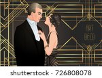 beautiful couple in art deco... | Shutterstock .eps vector #726808078