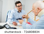 client with neck braces talking ... | Shutterstock . vector #726808834