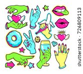 neon fashion patch badges with... | Shutterstock .eps vector #726809113