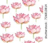 lotus watercolor seamless... | Shutterstock . vector #726813814