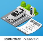 parking place with receipt | Shutterstock .eps vector #726820414
