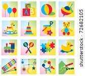 set of sixteen children toy... | Shutterstock .eps vector #72682105