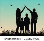vector silhouette of family... | Shutterstock .eps vector #726824938
