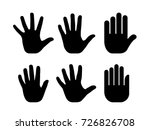 Silhouettes Of Human Open Palm...