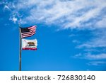 california and us flags in the... | Shutterstock . vector #726830140