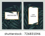 green palm leaves with white... | Shutterstock .eps vector #726831046