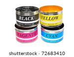 Four Basic Colors Of Offset Printing, Cyan, Magenta, Yellow And Black - stock photo
