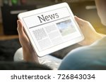 man reading the news on tablet... | Shutterstock . vector #726843034