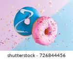 two flying sweet doughnuts with ... | Shutterstock . vector #726844456