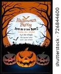 jack o lantern glowing at... | Shutterstock .eps vector #726844600