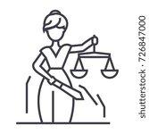 Justice Statue Vector Line Icon ...