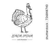 hand drawn doodle cute turkey... | Shutterstock .eps vector #726848740