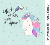 magic cute unicorn with stars.... | Shutterstock .eps vector #726858880